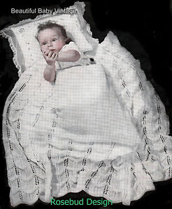 Rabbit Knitting Pattern : Vintage KNITTING PATTERN 1930s Australian Baby Shawls Cot Blankets, Patons, C...