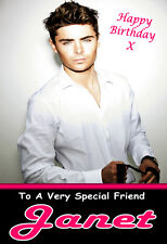 FREE UK POSTAGE ZAC EFRON PERSONALISED BIRTHDAY CARD PGS1900GC