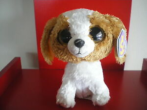 Ty Beanie Boos Cookie the dog 6 inch NWMT. Retired. SOLID EYES. Purple hang tag.