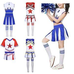 Kids-Cheerleader-uniforme-da-Cheerleader-costume-Ragazze-della-Squadra-Vestito-Da-Scuola-Dancewear