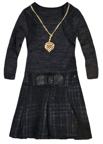 Girls Long Sleeved Check Skirt Dress New Kids Checked Winter Dresses 2-10 Years