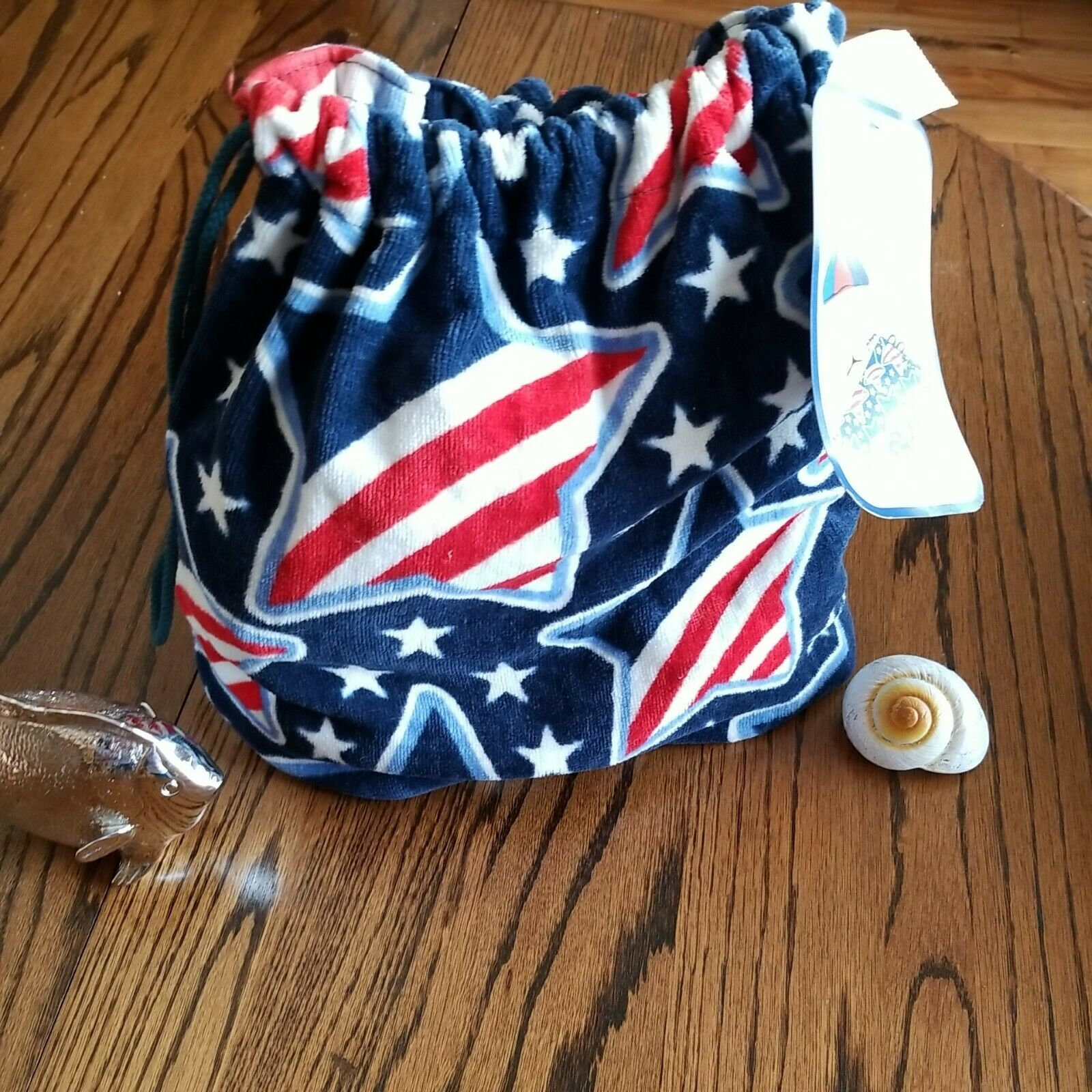 🇺🇲STAR BEACH TOWEL BACKPACK Red White Blue Star Patriotic 30 X 60 COTTON NWT