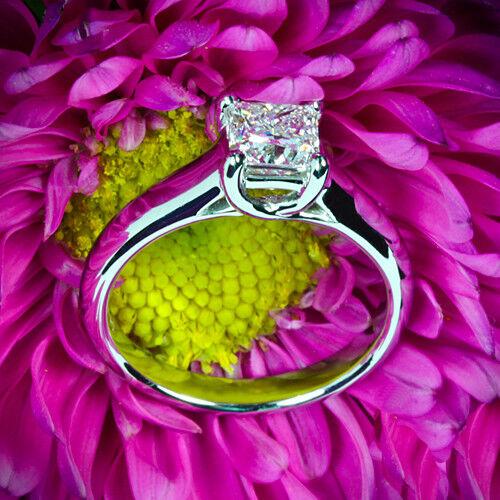 .60 CT PRINCESS CUT DIAMOND SOLITAIRE ENGAGEMENT RING 14K WHITE GOLD