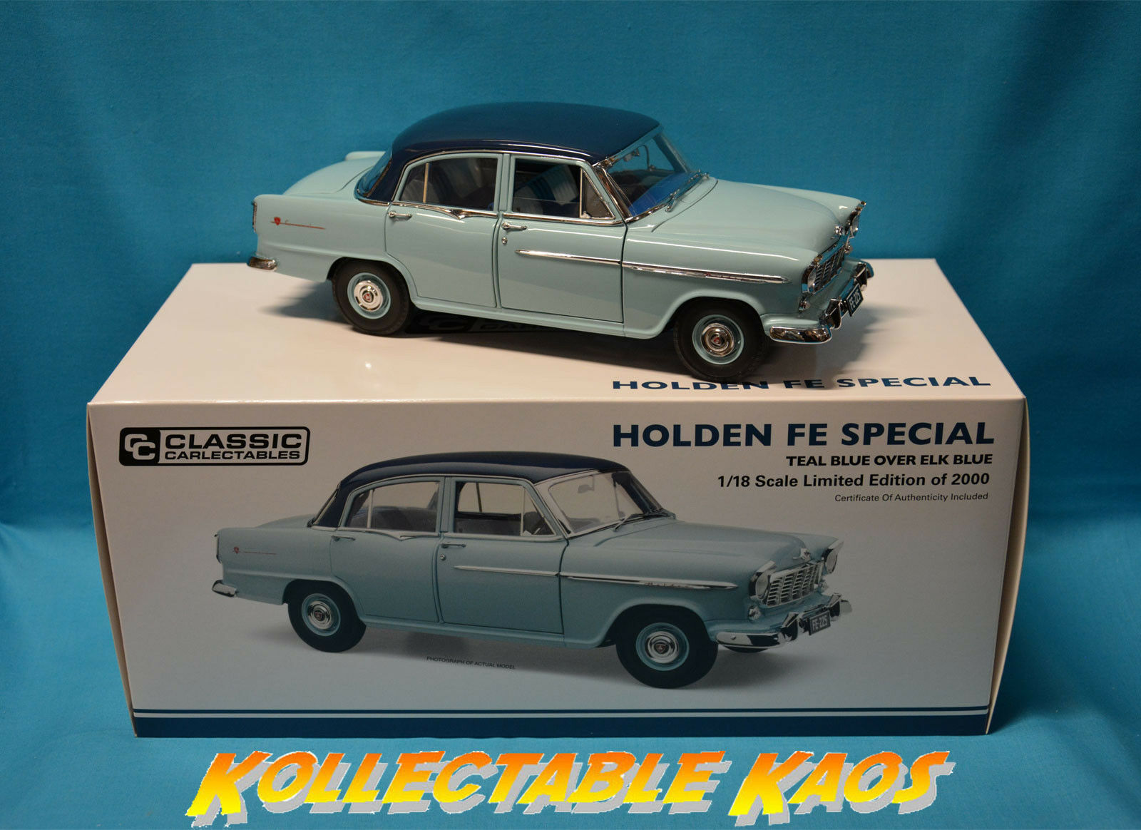 1 18 Classics - Holden FE Special - Teal bluee over Elk bluee