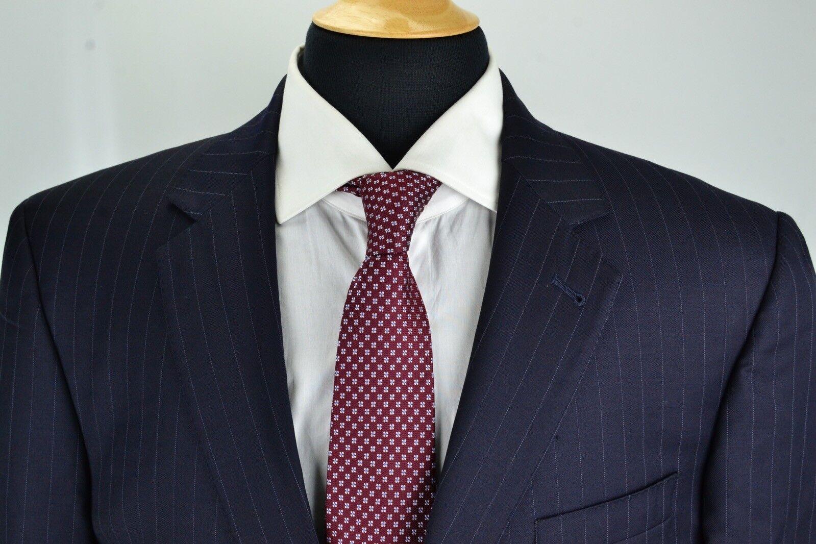 Jos A Bank Signature Gold Gordon Navy Blau Pinstriped Wool 2 Pc Suit Sz 42L