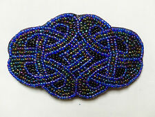 Celtic Knot Hair Clip Barrette Hand Made Blue Peacock Black 1