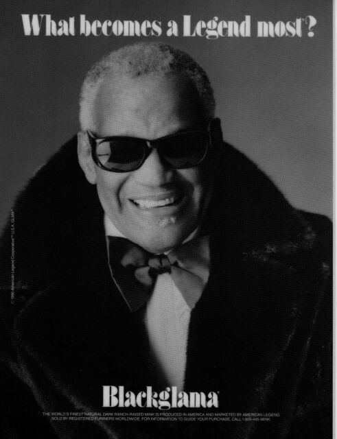 Vintage BLACKGLAMA Print Ad with RAY CHARLES - Laminated Proof - Mint Condition