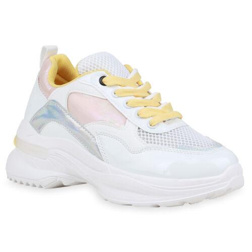 Damen Plateau Sneaker Metallic Chunky Turnschuhe Freizeit Schnürer 833598 Trendy