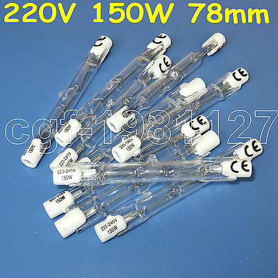 10pcs HALOGEN LIGHT BULB 120V 150W 150 WATT J TYPE T3 78mm R7s Halogen Bulbs