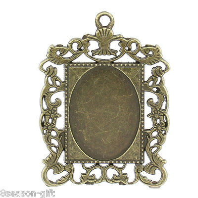 10 PCs Cameo Frame Oval Setting Pendants Rectangle Bronze Tone 4.6cmx3.5cm