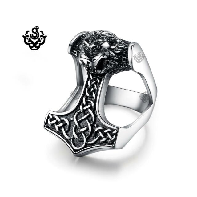 Silver bikies ring solid stainless steel lion Thor's Hammer half finger band