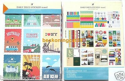 Daily Deco Travel Sticker 12 sheet USA NY UK London France Paris Scrapbook JAPAN