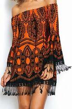 ladies boho bohemian print off shoulder casual summer party mini dress dresses S