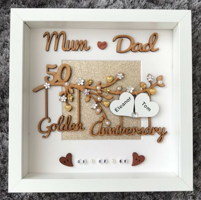 3001147d2da Handmade Personalised Golden 50th Wedding Anniversary Gift Frame Mum and Dad