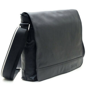 New-Men-039-s-Nappa-Leather-Black-Satchel-Shoulder-Messenger-Document-13-034-Laptop-Bag