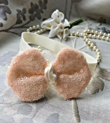 Beautiful Sequin Sparkle Bow Headband Baby Girl Wedding Christening Christmas