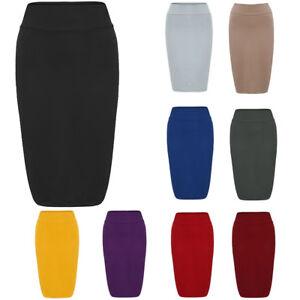 AU-Women-Jersey-Stretchy-Ladies-Pencil-Plain-Gypsy-Bodycon-Skirt-Plus-Sizes-8-26