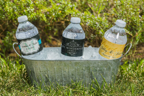 100 Modern Coral String Market Lights Wedding Birthday Party Water Bottle Labels