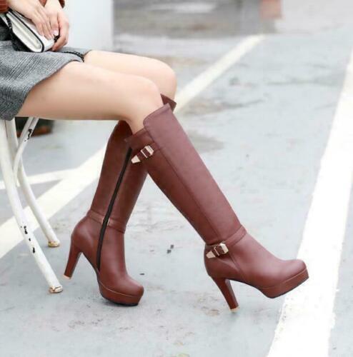 New Women Knee High Boots Knight Block High Heels Platform Side Zip Buckle Shoes