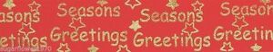 Christmas Seasons Greetings Ribbon red & gold  cake Frill  NEXT DAY DESPATCH
