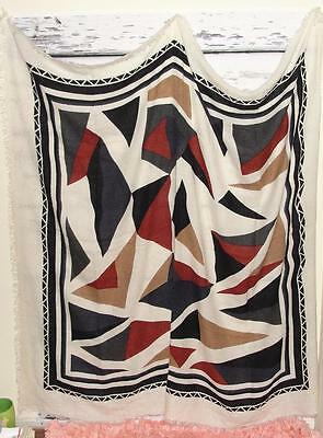 """NEIMAN MARCUS~$195 (HUGE 56"""" H x 56"""" W) TRIBAL ABSTRACT~BLANKET WRAP SHAWL SCARF"""