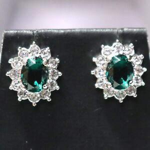 2-Ct-Oval-Green-Emerald-Halo-Stud-Earrings-14K-White-Gold-Plate-Solid-Silver