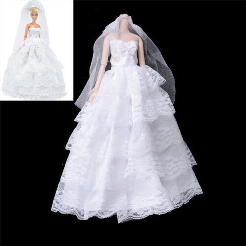Handmade   Dolls Wedding Bridal Dress Princess Gown Evening Party Clothes PLF