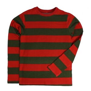 Long-Sleeve-Nightmare-Freddy-Green-Red-Striped-Costume-Shirt-Toddler-2T-3T-4T-5T