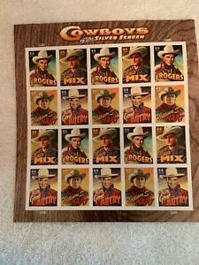 Cowboys-of-the-Silver-Screen-Full-Pane-of-20-44C-stamps-USPS-MNH-souvenir-sheet