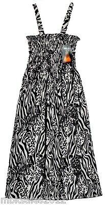 Mari Clare Sundress White Black Zebra Cheetah Print Summer Dress Beach Cover