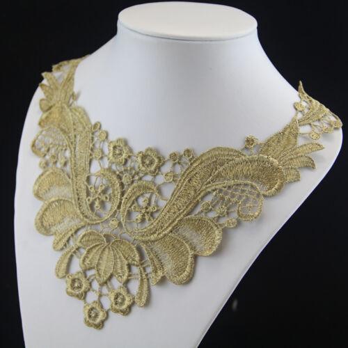 Costume Pizzo Applicazione Ricamo Colletto Oro Motivo Sera Abito Scollatura Arte