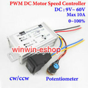DC 9-60V 12V 24V 36V 48V 10A PWM DC Motor Speed Controller Switch Speed Switch