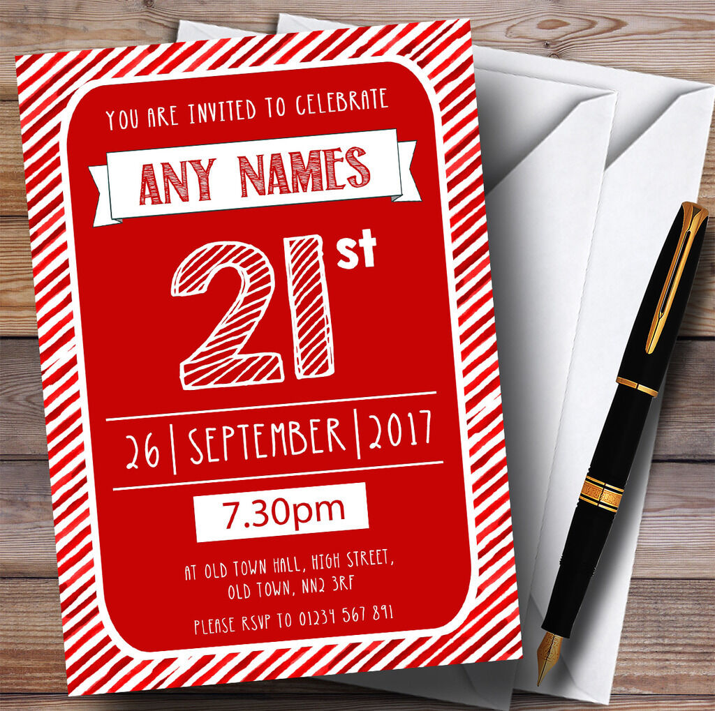 rot & Weiß Stripy Deco 21st Personalised Birthday Party Invitations