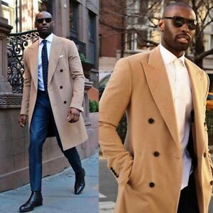 Fashion-Camel-Men-039-s-Winter-Coat-Double-Breasted-Long-Blazer-Causal-Tailored-Fit