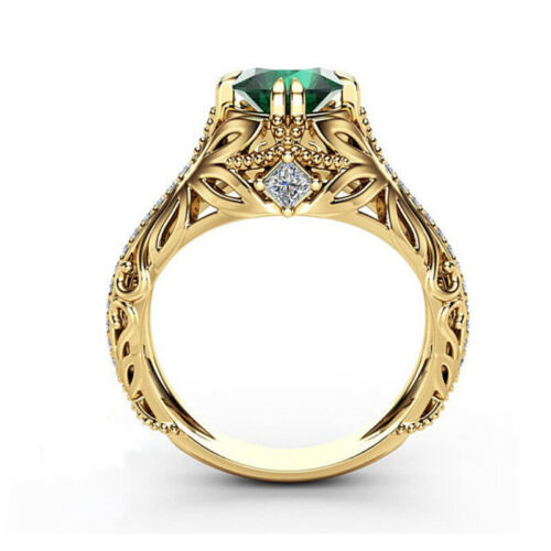 Women Lady Girl Green Zircon Diamond Rings Wedding Engagement Ring Gift