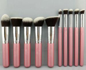 10pcs-Cosmetic-Make-up-Brushes-Face-Powder-Blusher-Foundation-Set-Pink-Rose