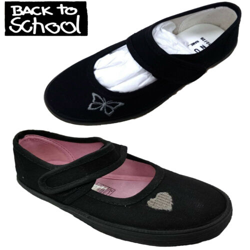NEW GIRLS BLACK SCHOOL LOVE HEART,BUTTERFLY PE PUMPS PLIMSOLLS SHOES SIZE 8-4