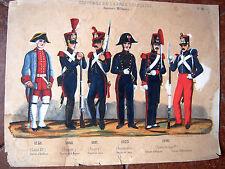 DOCUMENT EMPIRE  belle planche costumes militaire  rehaussées à la main