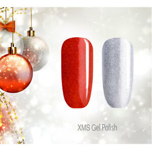 2X-Christmas-Gel-Nail-Polish-UV-LED-Glitter-Silvery-Red-Sequined-Soak-Off-Gel