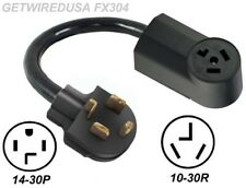 4-PIN MALE 14-30P PLUG to 3-PIN FEMALE 10-30R RECEPTACLE 250V NEMA DRYER ADAPTER
