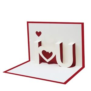 Image Is Loading I LOVE YOU 3D Pop Up Greeting Cards