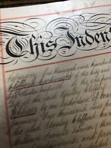 Antique 1905 Hand Written Vellum Document Conveyance HULL E YORKSHIRE Mortgage