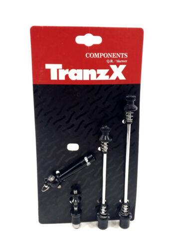 TranzX antivol libération rapide Set Avant//Arrière Roue /& Tige de selle Clamp brochettes
