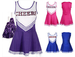 Cheerleader-Costume-Minivestito-pom-poms-Fancy-Dress-High-School-Carnevale