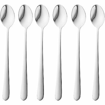 New 6x Long Stainless Steel Coffee Hot Chocolate Latte Ice Cream Sundae Spoons