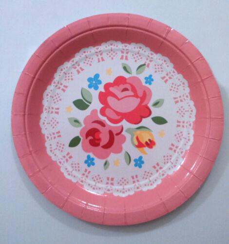 Vintage Tea Party assiettes en papier 4 Round GRN Serving//10 Couleurs Mélangées Napperon Roses