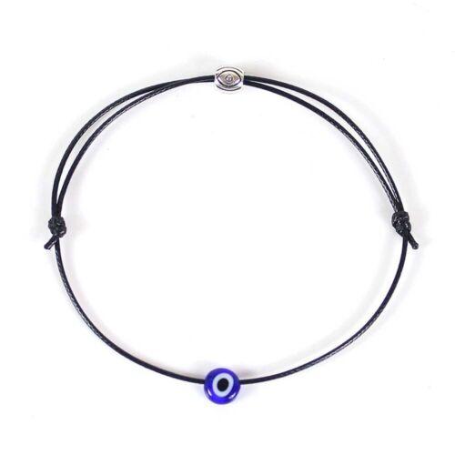 Fashion Punk Black Red Blue Evil Eye Bracelet Rope Braided Bangle Lucky Jewelry