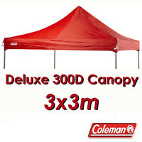 Coleman Deluxe 3x3 Red Gazebo Canopy Roof Replacement Cover Top Fits 3m Oztrail