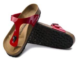Birkenstock-Gizeh-Birko-Flor-Patent-Cherry-1014310-normale-Weite-Rot-Lack-Damen