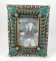 Southwestern Turquoise Picture Frame 4x 6 Photo Silver Accents Rhinestones